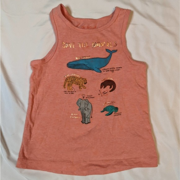 Cat and Jack Tank Top Girls Animal Size 2T Pink